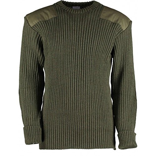 British Commando Sweater Woolly Pully Crew Neck (X-Small (32-34 inch), Olive Drab)