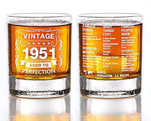 Old Fashioned Glasses-1951-Vintage 1951 Old Time Information 10.25oz Whiskey Rocks Glass -70th Birthday Aged to Perfection - 70 Years Old Gifts Bourbon Scotch Lowball Old Fashioned-1PCS