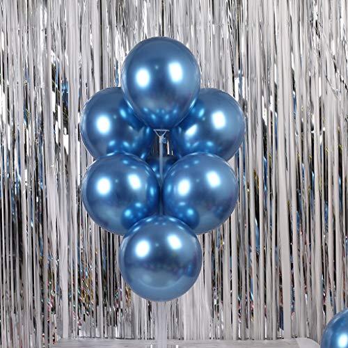 Home Décor - Globos de látex metálicos cromados brillantes para cumpleaños, bodas, fiestas de graduación (azules)