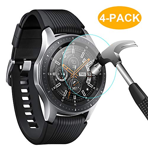 CAVN Compatible con Samsung Galaxy Watch 46mm Protector de Pantalla [4 Paquetes], Impermeable Vidrio Templado Pantalla Protector para Galaxy Watch 46mm [Alta sensible] [HD claro]