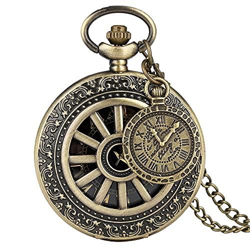 Reloj de bolsillo con colgante de latón estilo vintage de cobre steampunk y bronce hueco, para hombres y mujeres con accesorio (color 3)