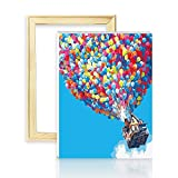 decalmile Pintura por Número de Kits DIY Pintura al óleo para Adultos Niños Globo de Colores 16X 20 (40 x 50 cm, Marco de Madera)