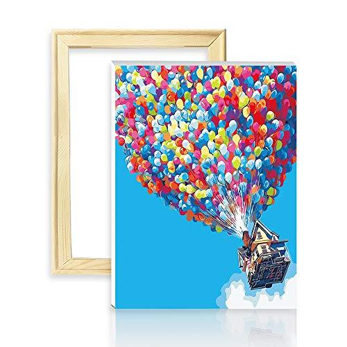 """decalmile Pintura por Número de Kits DIY Pintura al óleo para Adultos Globo de Colores 16""""X 20"""" (40 x 50 cm, Marco de Madera)"""