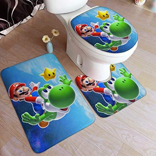ingshihuainingxianchuangju Super Mario Comfort Flanell-Badteppichmatten-Set, 3-teilig, rutschfest, mit Unterlage, Badematte + Konturteppich + saugfähigem WC-Deckel