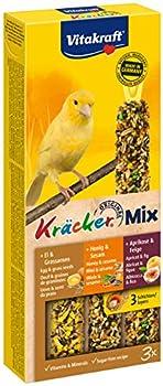 Vitakraft Kräcker Trio Mix - Friandise pour CANARIS - Saveur Oeuf et graines de graminées / Figue Abricot / Miel sésame - Boîte de 3 Kräckers