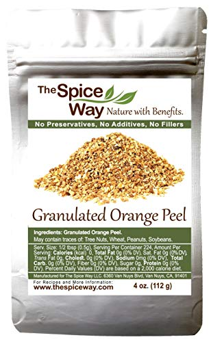 The Spice Way Orange Peel - Granules ( 4 oz ) without any preservatives. Great for cooking, baking and tea.