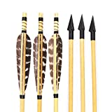 Archery Wooden Arrows Turkey Feathers Fletchings for Traditional Recurve Longbow Hunting Target Shooting