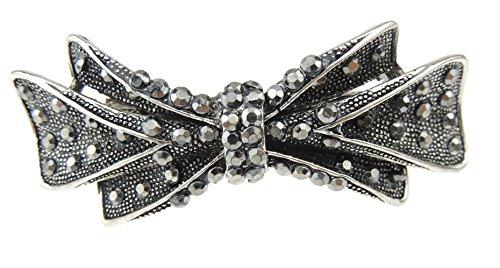 Glamour Girlz Barrette à cheveux en métal avec nœud en strass style vintage Gris foncé 9 cm