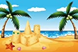 LFEEY 7x5ft Cartoon Seaside Beach Backdrop for Photography Sand Castle Coconut Tree Photo Background Kids Children Birthday Party Decoration Wallpaper Photo Booth