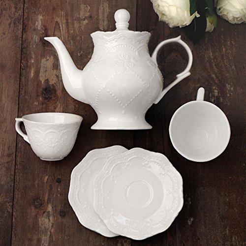 CdCasa 2er Set Tasse mit Teekanne, 2 Kaffeetasse Teetasse und Untertasse, Teekanne Teapot Kaffeekanne Landhaus Shabby Chic - Blumenmuster Geprägt - Verschiedene Größen - Weiß - Keramik