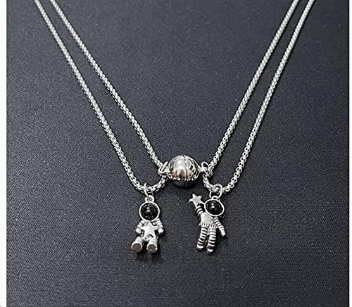 XCWXM 2 Piezas/Juego de Collar con Colgante de corazón magnético, Cadena de Cuerda Negra de Moda, Collar de Pareja de Aniversario, Collar Mejor Amigo-Yuhang