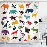 ABAKUHAUS Zoo Duschvorhang, Silhouetten Safari, Set inkl.12 Haken aus Stoff Wasserdicht Bakterie & Schimmel Abweichent, 175x200 cm, Mehrfarbig