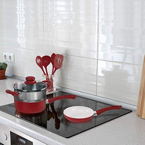 Ivation Ceramic Cookware | 16-Piece Nonstick Cookware Set with Induction Base, SoftGrip Handles & Clear Glass Lids | Compatible with Induction, Ceramic, Gas, Electric & Halogen Cooktops | Red