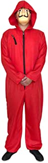 Unisex Dali Mask Red Costume for La Casa De Papel Coverall Jumpsuits Halloween Cosplay Hoodie Costume Long-Sleeve Zipper C...