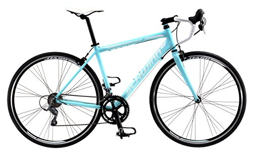 Schwinn Phocus 1600 Drop Bar Womens Road Bicycle, 41cm/Small Aluminum Step-Through Frame, Carbon Fiber Fork, Shimano 16-Speed Drivetrain, 700c Wheels, Light Blue