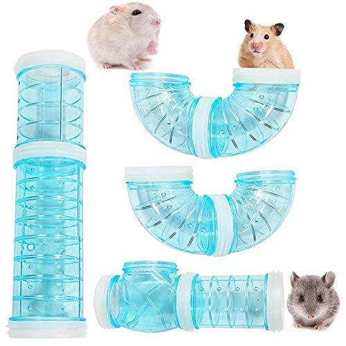 GWL Röhren Für Den Tunnel Hamster, Hamster Tube Set, Hamster Cage Tubes Tunnel, Transparente Gebogene Rohr Haustierkäfig Tunnel DIY Kreative Verbindung, für Kleine Tierkäfig Externe Zubehör (Blau)