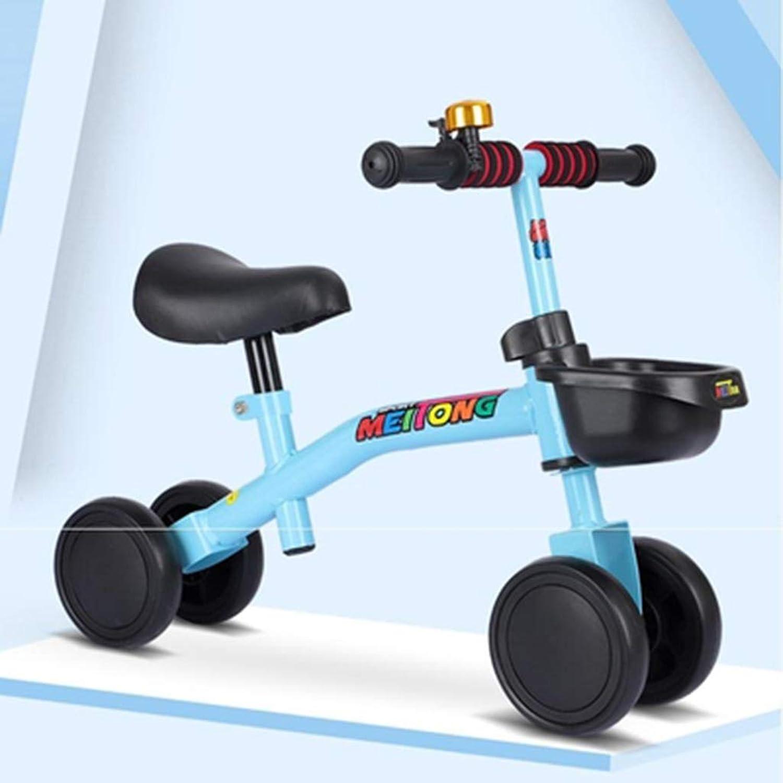 Kinderfahrrad Kinder Vierrad Balance Auto Kinder Roller Lauflernhilfe 1-3 Jahre alt ohne Pedalbremsen CHAOYUE (Farbe   Blau)