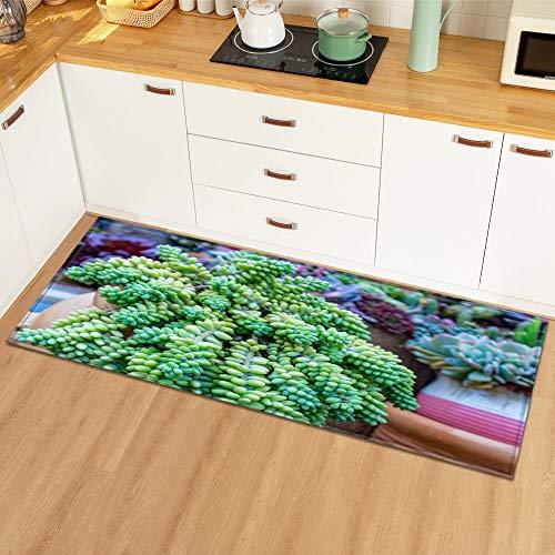 OPLJ Alfombrillas de Suelo con patrón de Hoja de Planta alfombras de Cocina decoración del Dormitorio del hogar Alfombra de Piso Entrada de baño Alfombrillas Antideslizantes A18 40x120cm