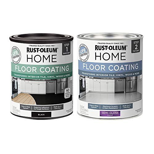 Rust-Oleum 367605 Home Interior Floor Coating Kit, Semi-Gloss Black