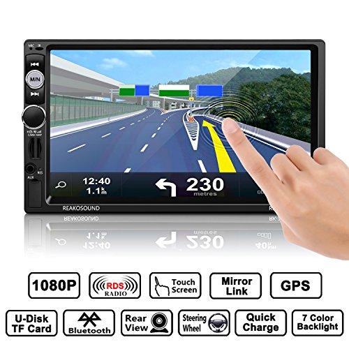 Auto-radio MP3, GPS-navigatie, MP5-speler, OCDAY-autoradio USB-/cd-ontvanger met Bluetooth USB-/SD-/audioontvanger/MP3-speler/FM-radio, dubbele DIN, 7 inch, full HD-touchscreen met Bluetooth GPS-navigatie, MP5