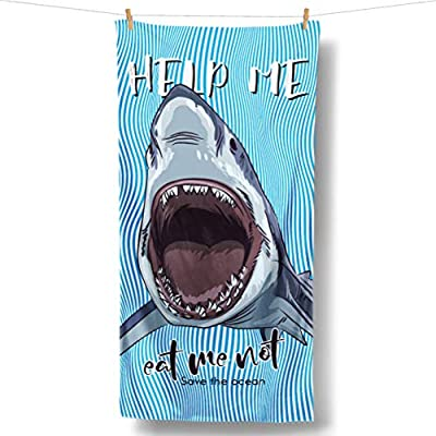 Loong Design 3D Shark Beach Towel Unique Design Large (30'' x 60'') Made from Innovative Fabric(Microfiber+Cotton) for Boys and Kids