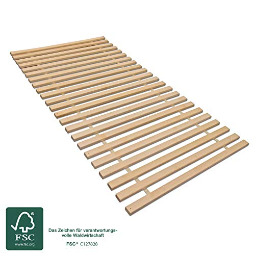 MaDeRa Rollrost XXL mit 23 extra stabilen Leisten aus massiven Buchenholz, belastbar bis ca. 280 kg Größe 80x200