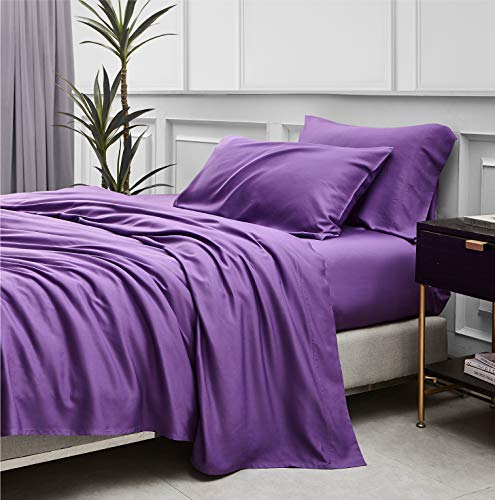 Bedsure 100% Bamboo Sheets Set Twin for Kids Purple - Twin Size Cooling Bamboo Bed Sheets for Boys and Girls with Deep Pocket 3PCS