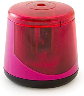 It's Academic Desktop Twin-Blade Auto Pencil Sharpener, Battery-Operated and Compact, Pink