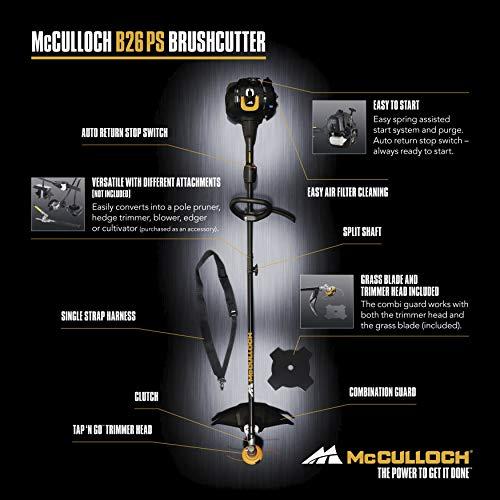 Débroussailleuse thermique McCulloch B26PS: Débroussailleuse d'une largeur de travail de 40cm (avec fil de coupe), interrupteur Marche/Arrêt automatique (N° d'art.00096-72.078.01)