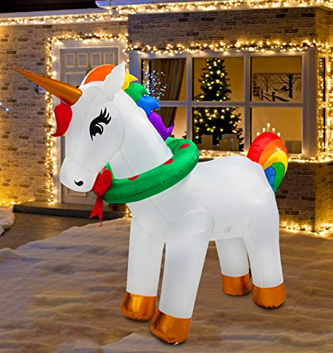 SYN 7ft Inflatable Unicorn Decorations for Christmas Decoration Indoor Outdoor Home Yard Lawn Garden Party