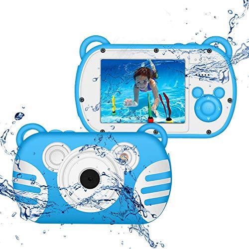 CamKing Cámara digital impermeable para niños, 1080P, subacuática, cámara de vídeo para niños, 18 MP, pantalla de 2,7 pulgadas, 8 x mini niños, videocámara digital para regalos infantiles (azul)