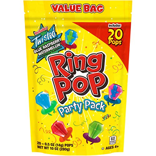 Ring Pop Individually Wrapped Bulk Lollipop Variety Party Pack – 20 Count Lollipop Suckers w/ Assorted Flavors - Fun Candy for Birthdays and Celebrations by Bazooka Candy Brands