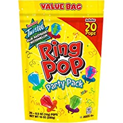 Iconic wearable lollipop ring with an enormous eye-catching candy gem that tastes as good as it looks 20 individually-wrapped Ring Pop lollipops per bag, proudly made in the USA Contains a selection of 6 mouth-watering fruity flavors: Strawberry, Blu...