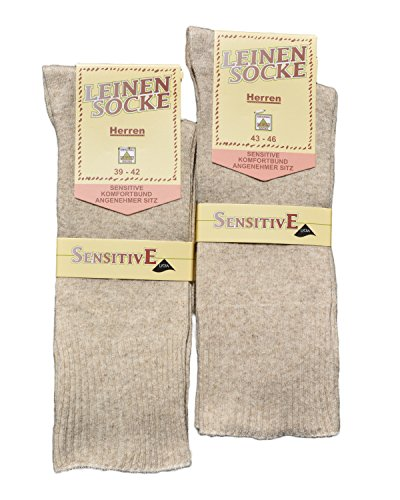 SPITZE SOCKS Leinensocken Leinen Socken Herren Herrensocken handgekettelt ohne Gummi sensitiv B& (43/46)