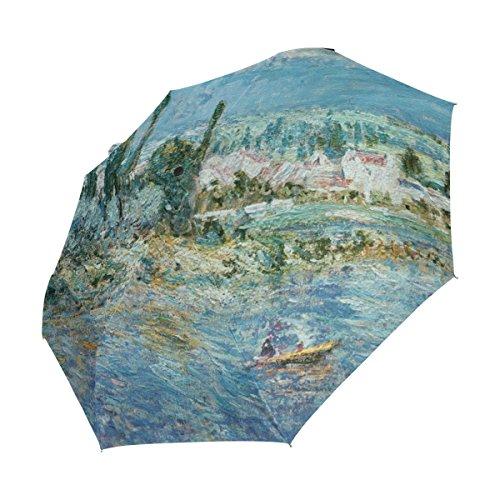 Ahomy Paraguas Plegable de Viaje a Prueba de Viento, Paisaje de Monet...