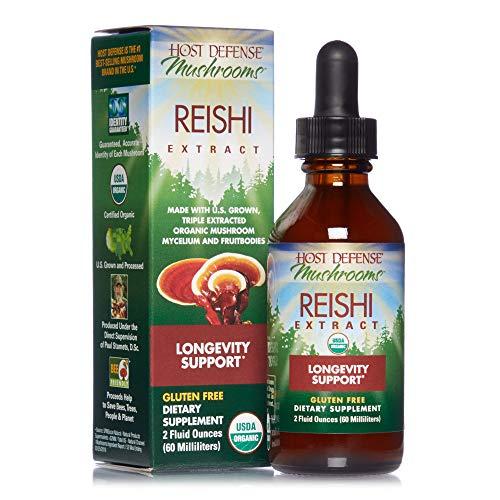 Host Defense, Reishi Extract, Supports General Wellness and Vitality, Daily Mushroom Mycelium Supplement, Organic, Gluten Free, 2 fl oz (30 Servings)