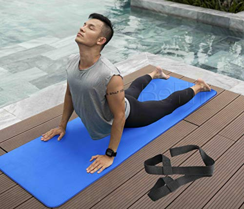 BeFiT® Anti-Skid Yoga Mat for Gym Workout and Yoga Exercise with Carrying Strap (Blue)
