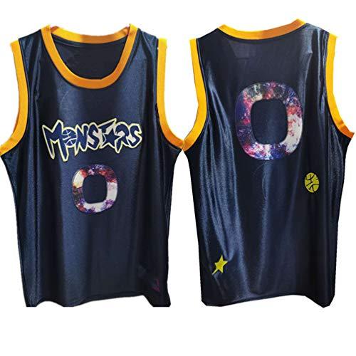 Camisetas Baloncesto Space Jam Monstars #0 Alien, Unisex Movie Sportswear Gym Top Bordado Secado Rápido Cuello Redondo Malla Transpirable Desgaste Pelota-Blue-L