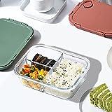 Delgeo Recipientes de Cristal para Alimentos con 3 Compartimentos y Cubiertos | 1050ml X 3 | 97% Embalaje de plástico eliminado | Envases Cristal Alimentos | (Rojo)