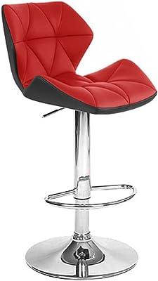 Set of 2 Spyder Contemporary Adjustable Barstool - Black/Red