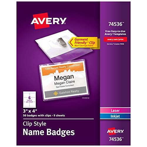 Avery Clip Name Tags, Print or Write, 3