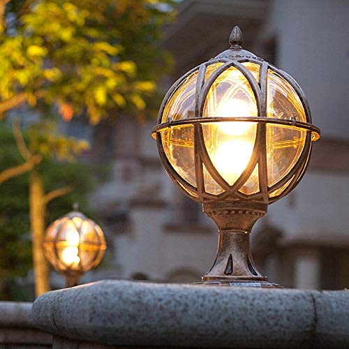 IUHUA Lámpara de Mesa Impermeable al Aire Libre, Poste de luz, lámpara de Columna, Puerta de Valla LED Europea, Villa, balcón, Patio, Vidrio esférico, luz de Aluminio, decoración E27