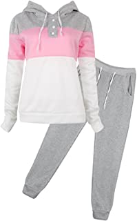 SCASTOE 2Pcs Womens Hoodies Sport Tops Pants Tracksuit Sweatshirt Sweat Suit Jogging Set
