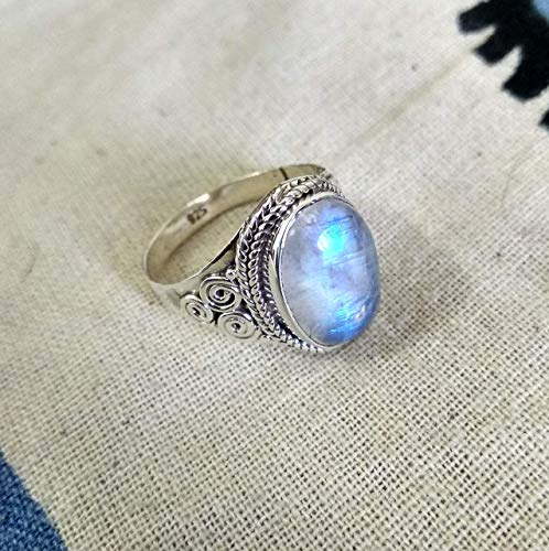 Natural Moonstone Ring, 925 Silver Ring, Statement Oval Ring, Healing Crystal, Promise Ring, Artisan Ring, Special Day Ring, Fire Effected Ring, Bezel Ring, Boho & Hippie Ring, Mermaid Gift Gypsy Ring