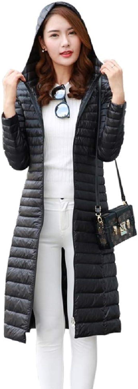 Aehoor Slim Long Down Jacket Female 90% Duck Down Super Hooded Ultralight Slim Warm