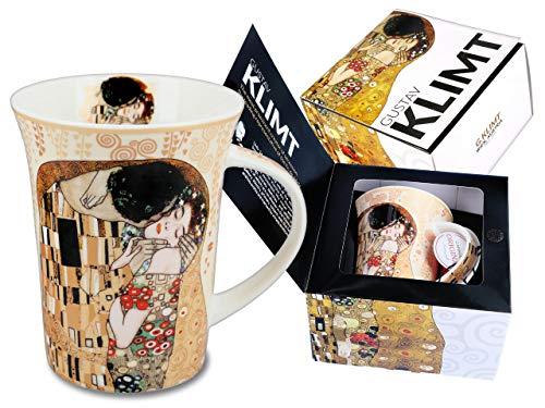 CARMANI Elegante taza de porcelana 'El beso beige' de Gustav Klimt, incluye caja de regalo decorativa