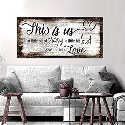 Sense of Art | Family a Little Bit of Crazy Whole Lot of Love Quote V2 | Wood Framed Canvas | Ready to Hang Wall Art for Home and Bedroom Decoration by Sense of Art