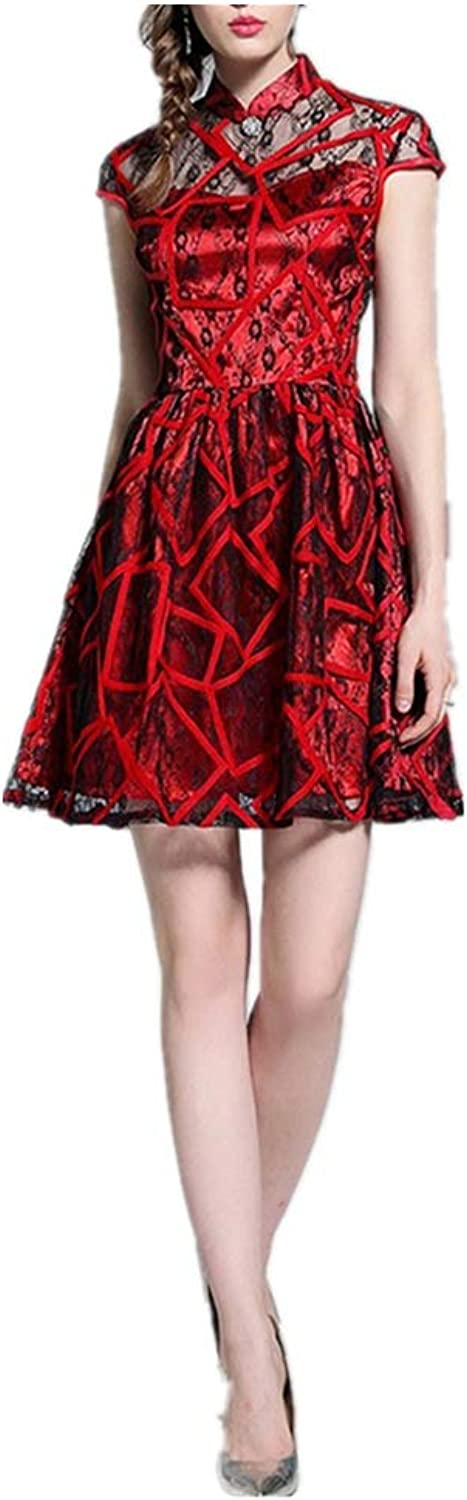 Dress Women's Style Lace Embroidered Fashion Waist Cheongsam Midi Dress Woman's Clothing (color   Red, Size   US 10)