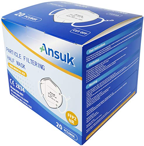 Ansuk 100 Stück FFP2 Atemschutzmasken | Partikelfiltermaske |Staubmaske | Schutzmaske | Atemmaske | Mundschutzmaske 5-lagig EU CE Zertifiziert von offizieller Stelle CE2834 - EN 149:2001+A1:2009 (100) - 2