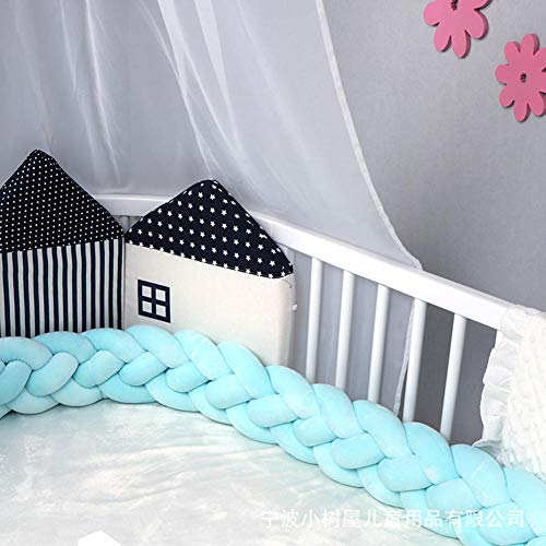 Baby Knotted 4 Trenzado Protector de cuna Almohadillas de forro Niños Niñas Ropa de cama Cubierta de riel Hecho a mano, parachoques de cuna de cama Protección cabecera Cojín almohada nudo